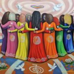 """'FEMME - Women Healing The World' Oil on canvas - 48"""" x 60"""" inches This painting is Inspired by the film documentary Femme: Women Healing the World the vision of Emmanuel Itier, produced by Celeste Yarnall and Nazim Artist. The image represents a symbolic evocation of the essence of the film with its message of holistic universal harmony between the genders, a co-creative partnership needed to heal the planet in all areas of human endeavour."""